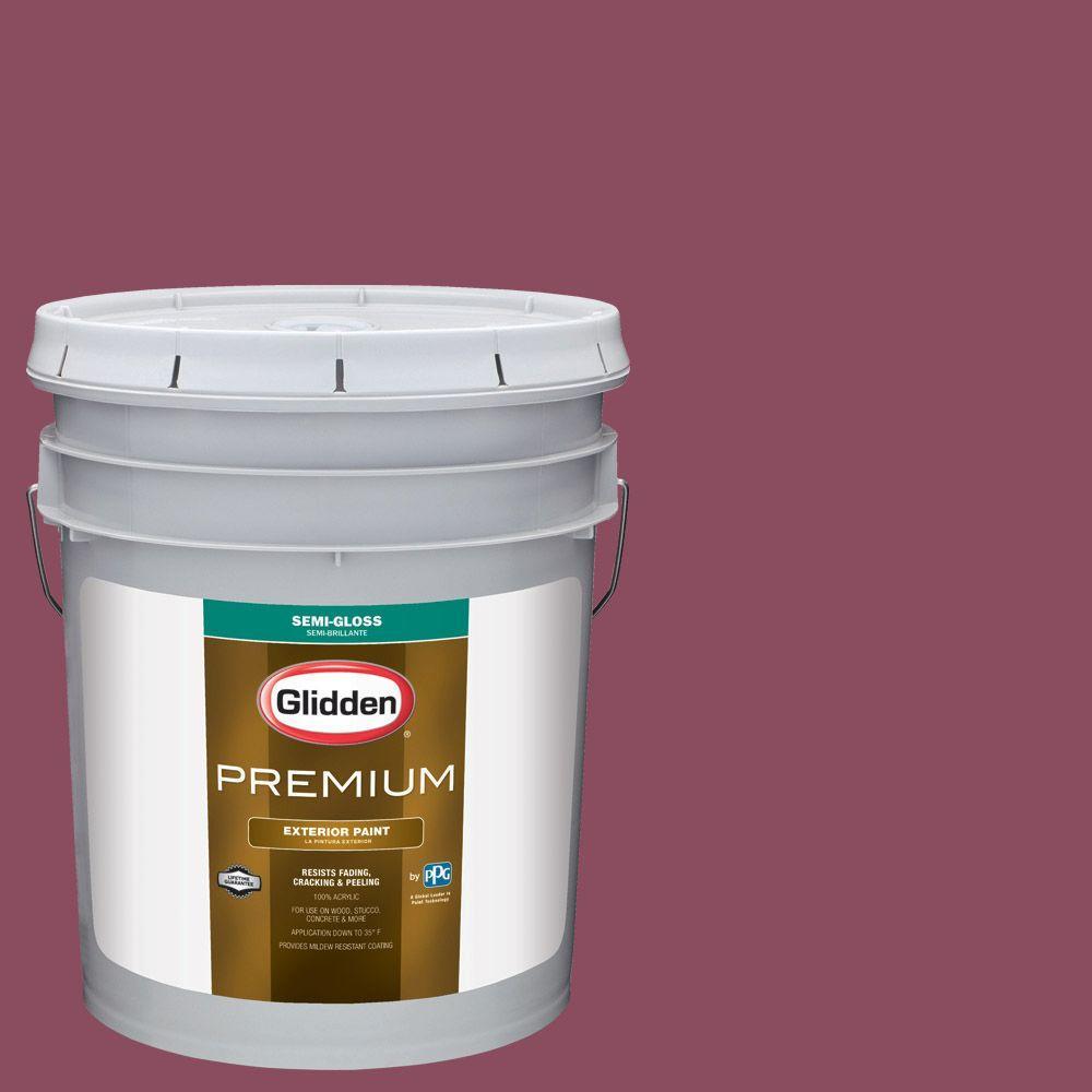 Glidden Premium 5 Gal. #HDGR21D Royal Cranberry Semi Gloss Latex Exterior  Paint