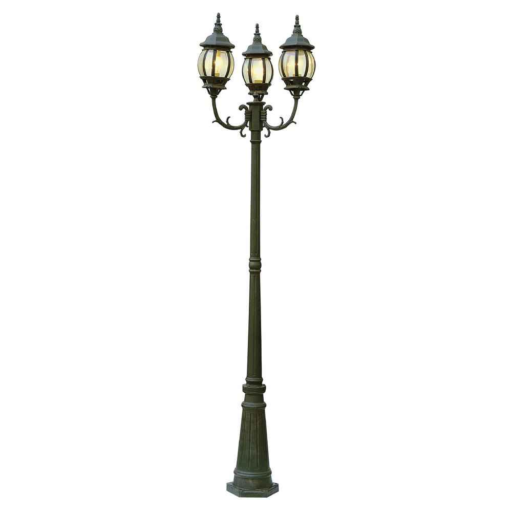 Outdoor 3 Light Lamp Post Parkway 3 light outdoor black gold lamp post 4090 bg the home depot parkway 3 light outdoor black gold lamp post workwithnaturefo