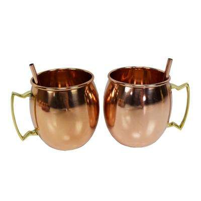 "Solid Round Pair of 100% Copper Moscow Mule Mug Cups with Copper Straws 17 oz Smooth Handcrafted 5"" L x 3.5"" W x 4"" H"