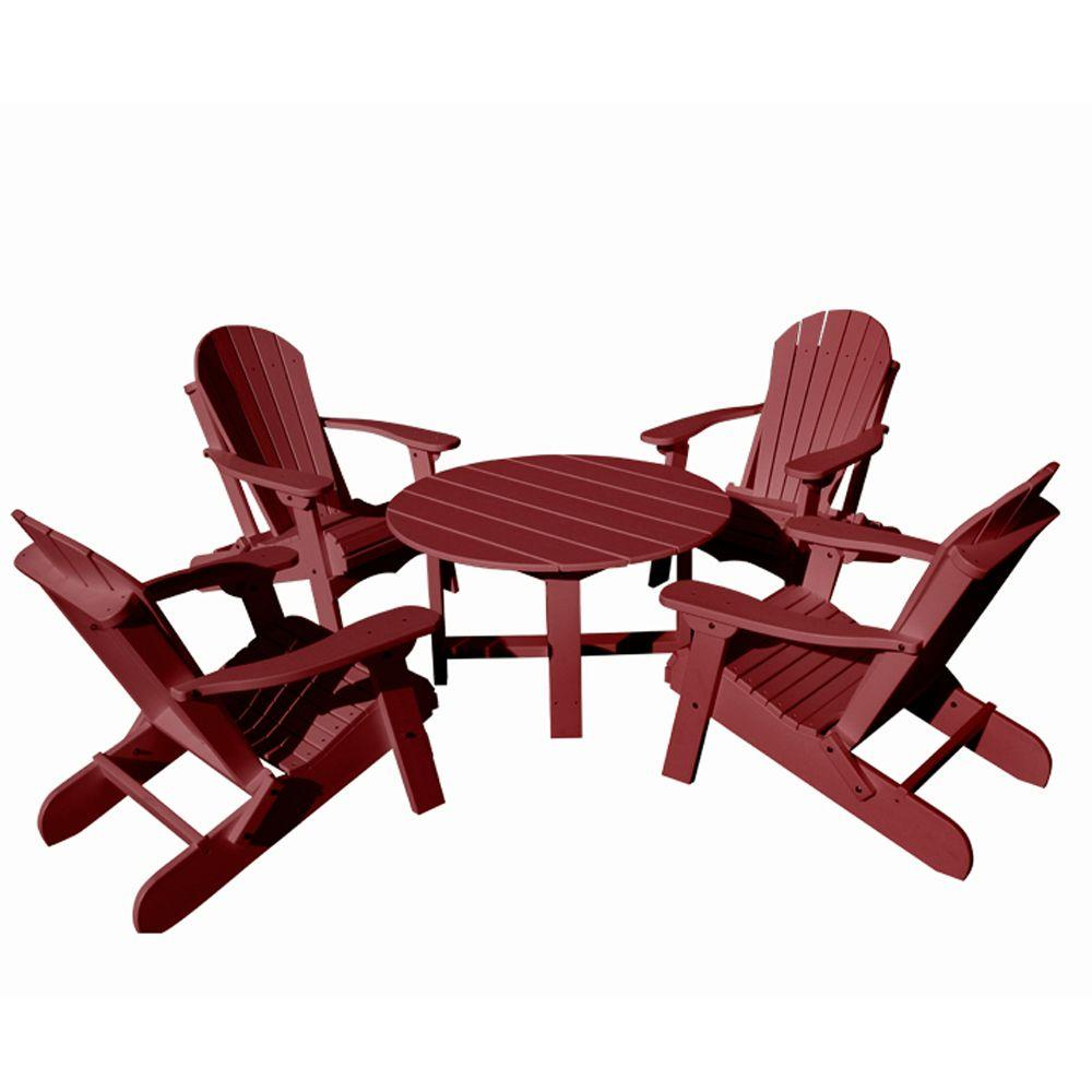 Vifah Roch Recycled Plastics 5-Piece Patio Conversation Set in Burgundy-DISCONTINUED