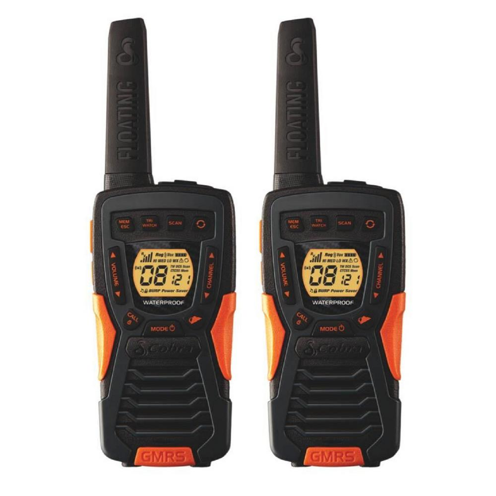 37-Mile Range Rugged and Floating 2-Way Radio with Rewind These Cobra 37-Mile Range, 22-Channel 2-Way Radios (pair) have a rugged design that floats and feature Rewind-Say-Again. The perfect radio for your next hike, camping trip or other outdoor adventure, these compact radios with rubberized grip are easy to carry in wet or dusty environments. If you do drop them in water, they're waterproof (IPX7 standard) and will float. Patented Rewind-Say-Again technology allows you to replay the last 20-seconds on any missed transmission. Combine 22-channels with privacy codes to prevent interference from other radios. An LED flashlight in the bottom of the radio provides additional light on your trip. User's voice is detected with voice-activated transmission (VOX); radio transmits without need to press any buttons. With a built-in NOAA Weather and Emergency Radio receiver, you will always be prepared for storms and emergencies and get all government operated weather channel alerts and warnings. These radios come with a dual-port charger, but can also be powered up with regular alkaline batteries should you need some additional power on your outing. Stay in touch and be prepared with Cobra floating walkie-talkies.
