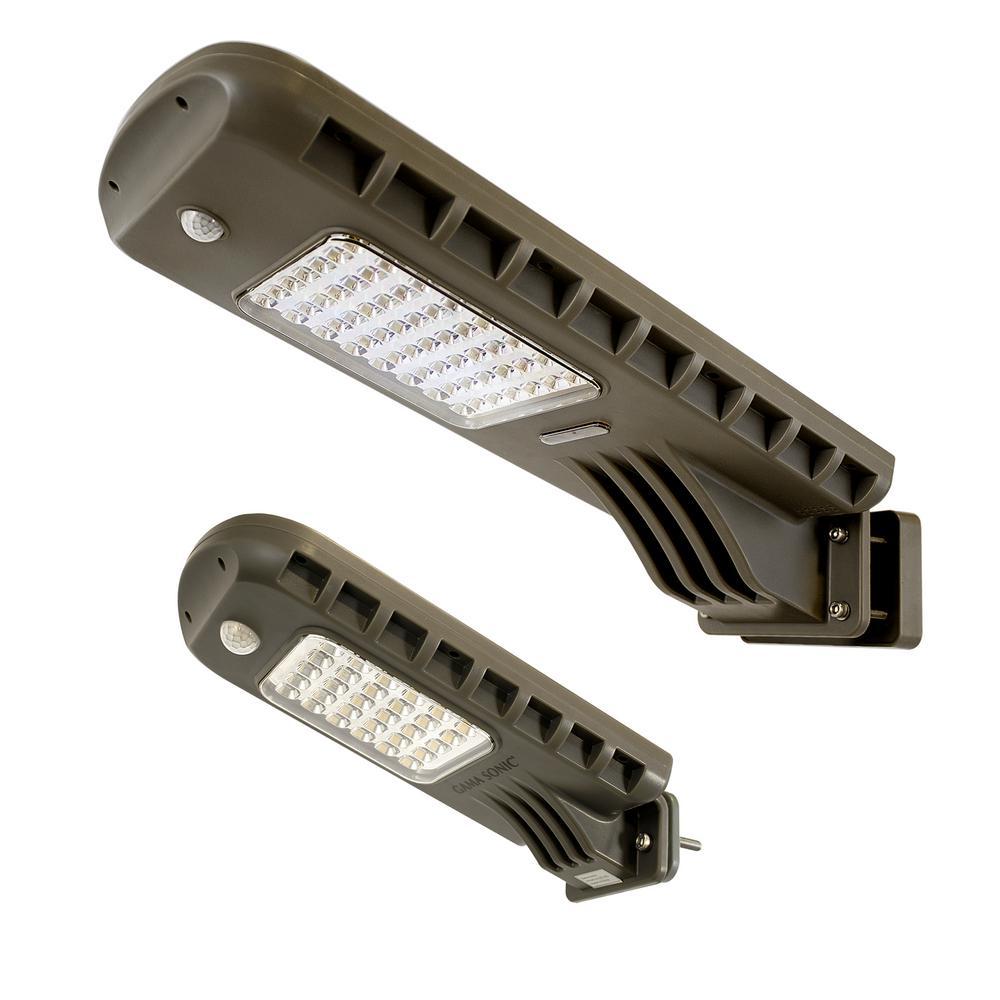 12-Watt 140-Degree Dark Gray Motion Activated Outdoor Integrated LED Flood Light with Bonus 6-Watt Solar Security Light