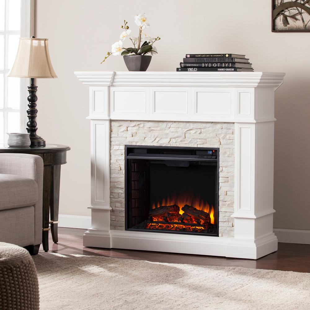 Amesbury Corner Convertible Electric Fireplace in White ignites traditional style in your living room