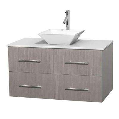 Centra 42 in. Vanity in Gray Oak with Solid-Surface Vanity Top in White and Porcelain Sink