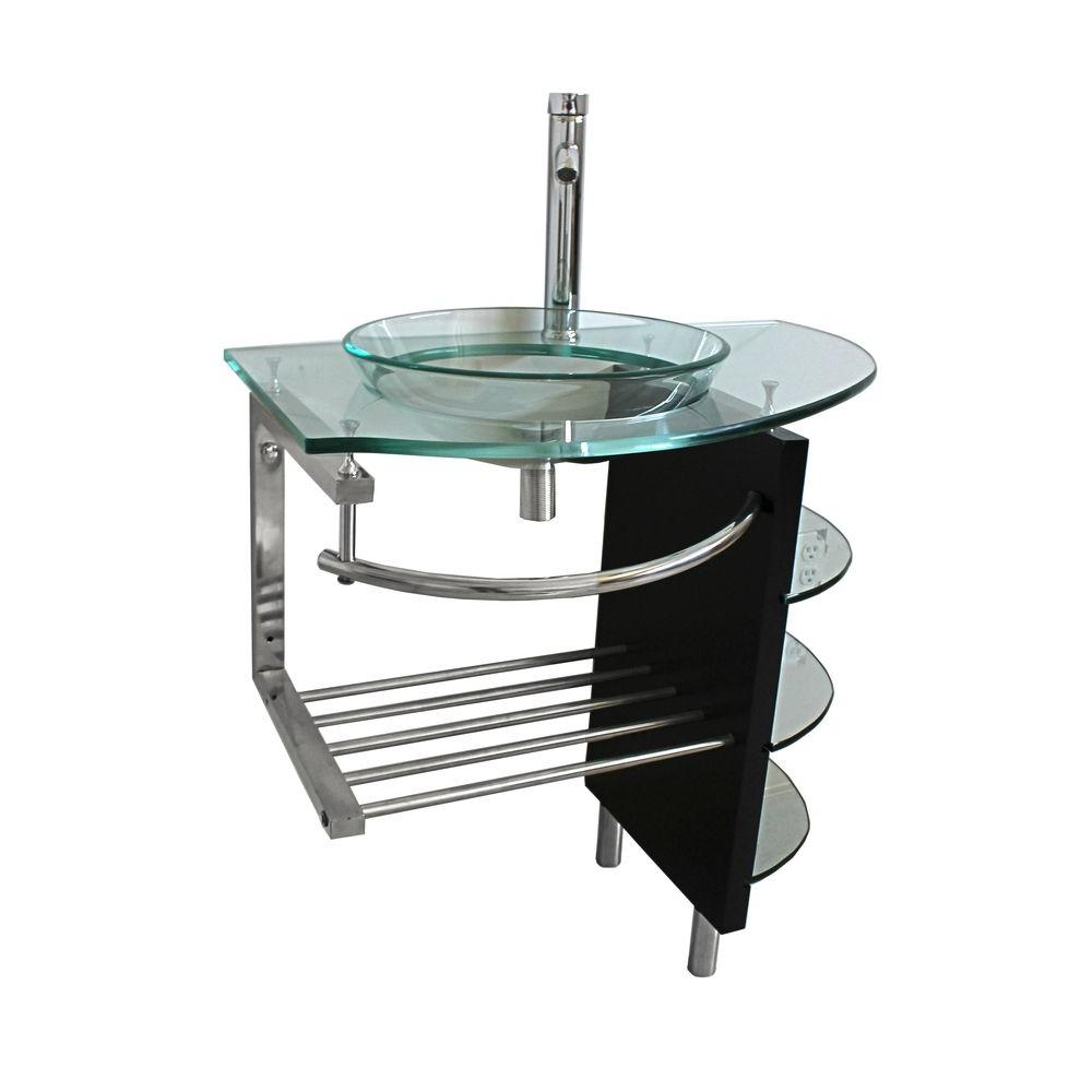 Kokols Vessel Sink In Clear Glass With Stand And Faucet In Chrome
