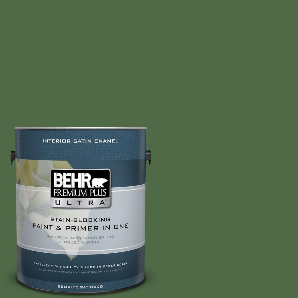 1-gal. #M400-7 Garden Cucumber Satin Enamel Interior Paint