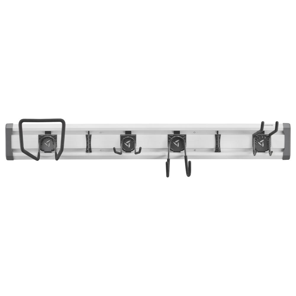 Gladiator 48 in. L GearTrack Lawn and Garden Garage Wall Storage Kit with 6-Hooks