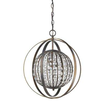 Olivia 1-Light Indoor Oil Rubbed Bronze Pendant with Crystal