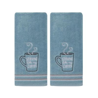 Blue 100% Cotton Strong Coffee Hand Towel (2-Pack)