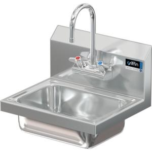 Griffin Products 17 In Wall Mount Stainless Steel 1 Compartment Commercial Hand Wash Sink With Faucet Cm 30 224 The Home Depot