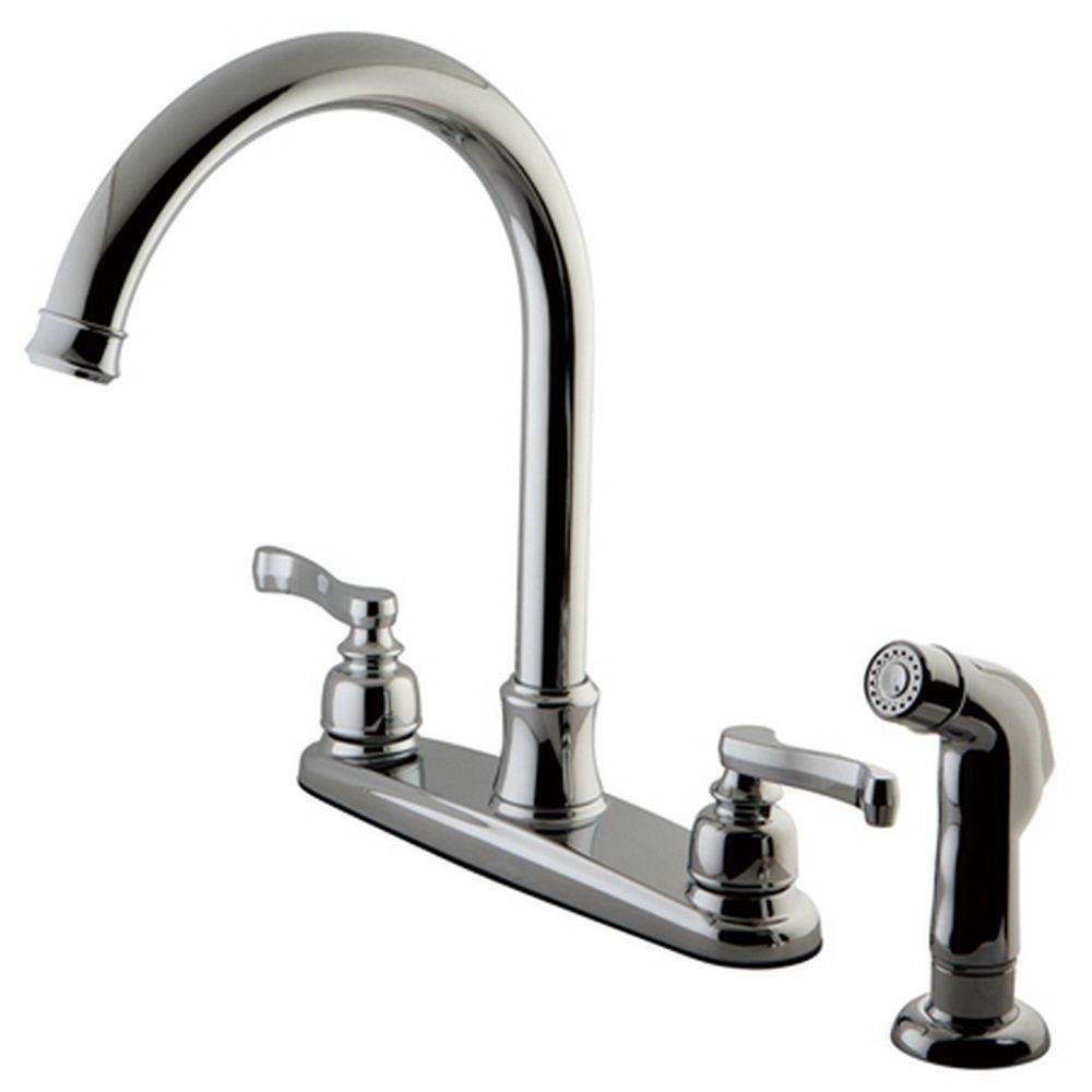French 2-Handle Standard Kitchen Faucet with Side Sprayer in Polished Chrome