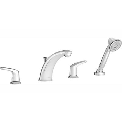 Colony PRO 2-Handle Deck-Mount Roman Tub Faucet for Flash Rough-in Valves with Hand Shower in Polished Chrome