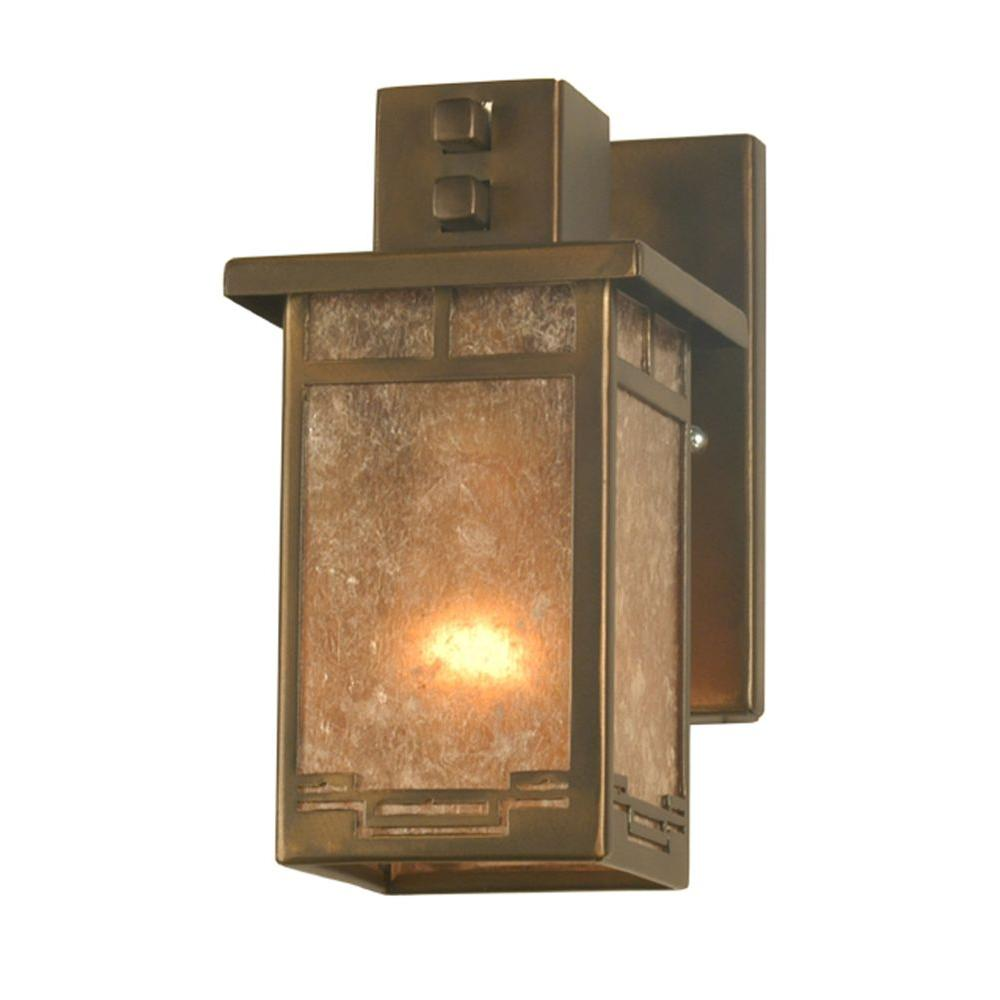 Illumine 1 Light Roylance Solid Mount Wall Sconce Antique Copper Finish Mica Glass