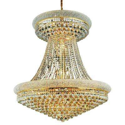 28-Light Gold Chandelier with Crystal Clear