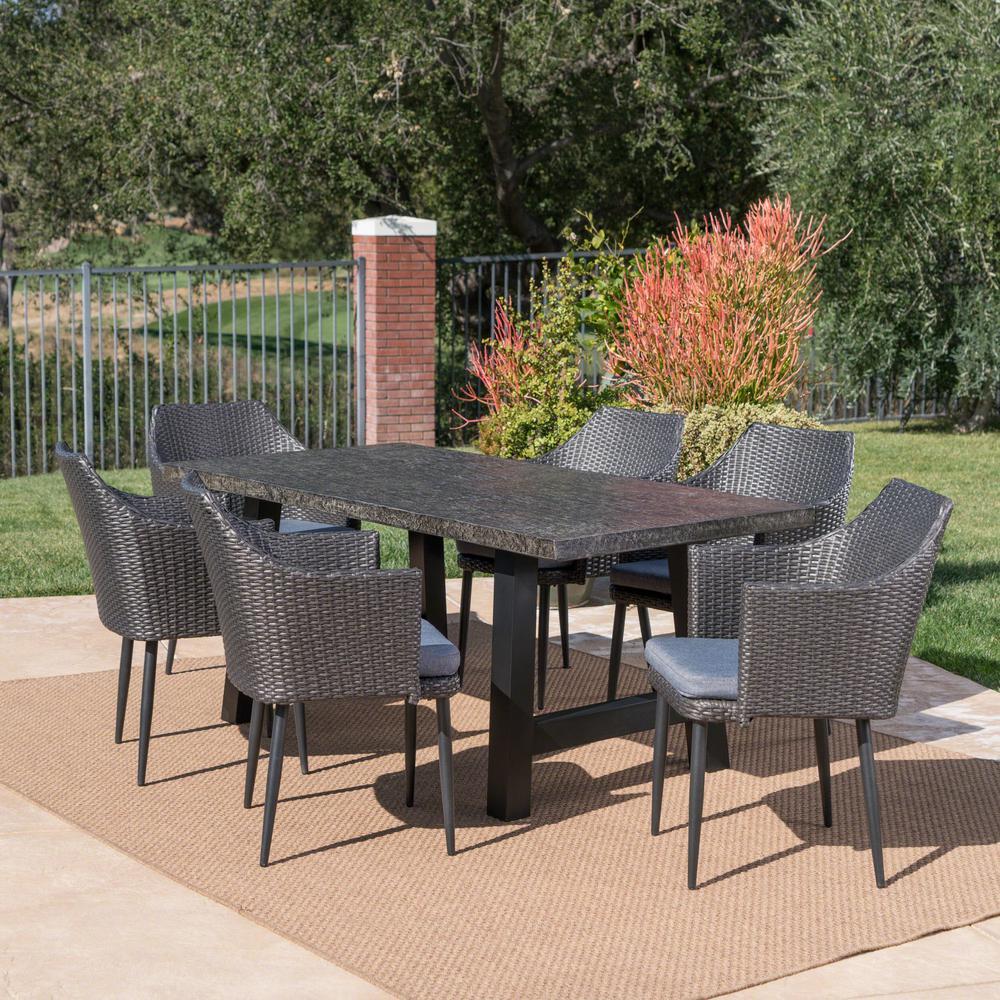 Nala Mixed Black 7-Piece Polyethylene Wicker Outdoor Dining Set with Grey Cushions