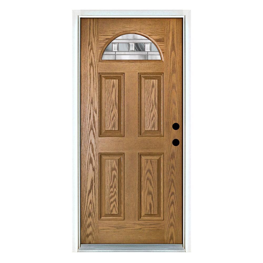 36 in. x 80 in. Savana Light Oak Left-Hand Inswing Fan Lite Decorative Fiberglass Prehung Front Door