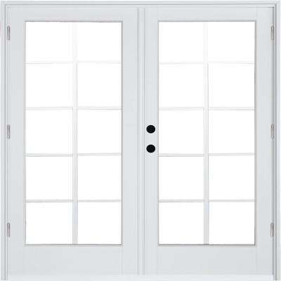 72 in. x 80 in. Fiberglass Smooth White Right-Hand Outswing Hinged Patio Door with 10-Lite GBG