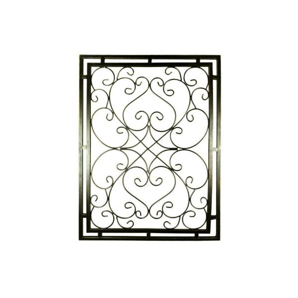 Benjara Gray Metal Wall Decor With