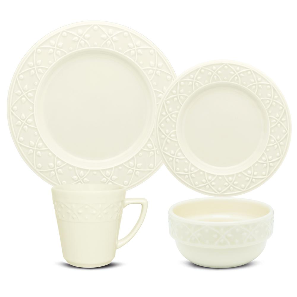 Manhattan Comfort Mendi Ivory 16-Piece Casual Ivory Earthenware Dinnerware Set (Service for 4) was $169.99 now $105.17 (38.0% off)