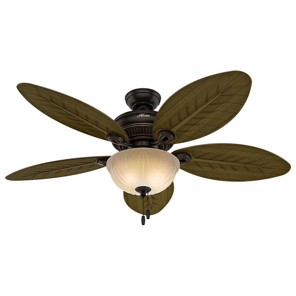 Hunter grand cayman 54 in indooroutdoor onyx bengal bronze ceiling indooroutdoor onyx bengal bronze ceiling fan with light kit 54050 the home depot mozeypictures Images