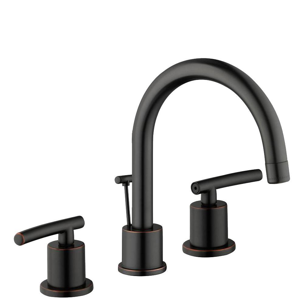 GLACIER BAY Dorset 8 in. Widespread 2-Handle High-Arc Bathroom Faucet in Bronze