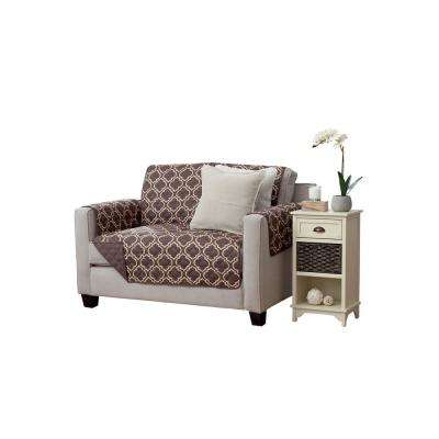 Adalyn Collection Chocolate Printed Reversible Loveseat Furniture Protector