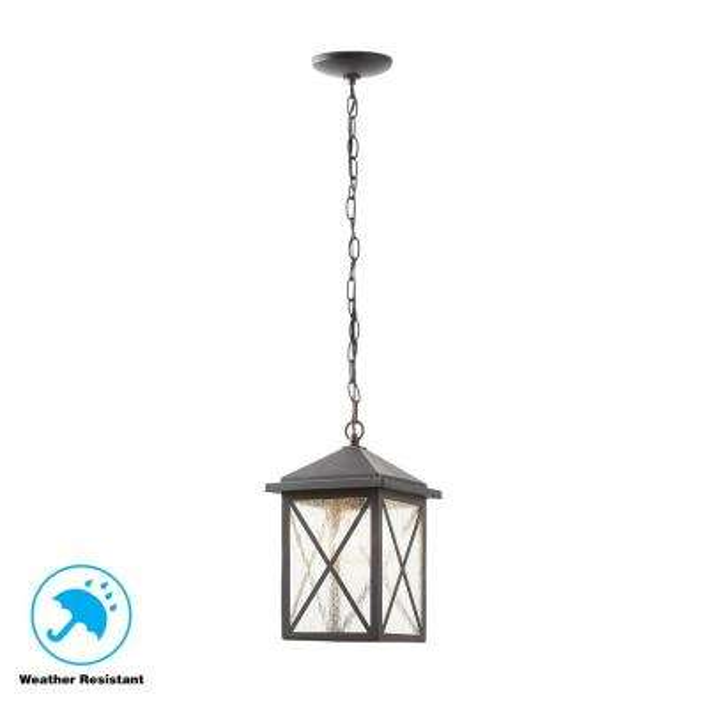 Criss Cross Black 1-Light Outdoor Hanging Lantern