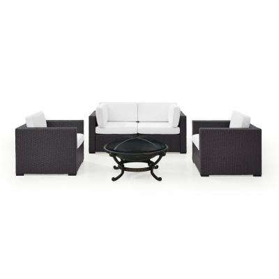 Biscayne 5-Piece Wicker Outdoor Sectional Set With White Cushions