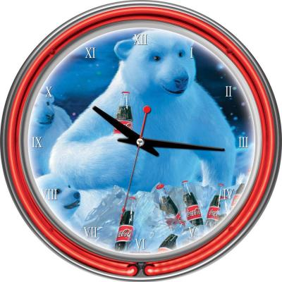14 in. Coca-Cola Polar Bears with Coke Bottle & Cubs Neon Wall Clock