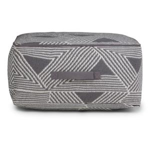 Headley Transitional Square Pouf in Patterned White, Grey Cotton