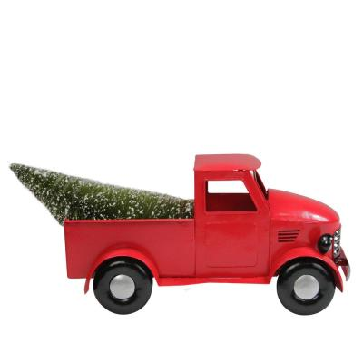 12 in. Red Iron Truck with Green Frosted Tree and Wreath Christmas Tabletop Decoration