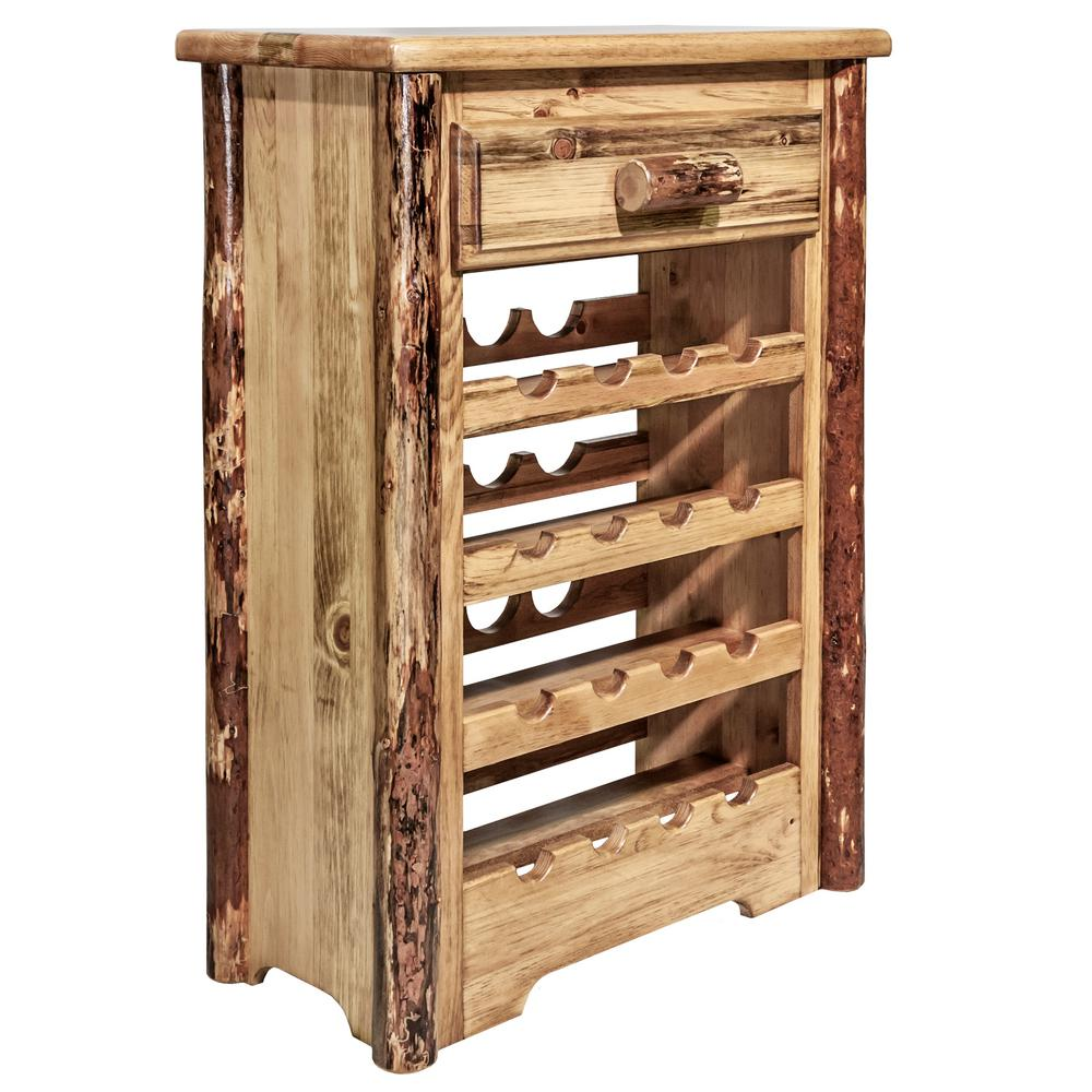 Glacier 16-Bottle Brown Stain and Clear Lacquer Wine Cabinet