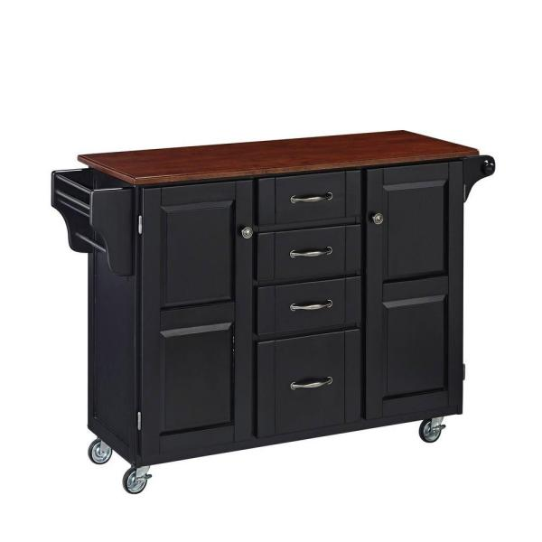 Home Styles Create-a-Cart Black Kitchen Cart With Towel Bar 9100-1047G