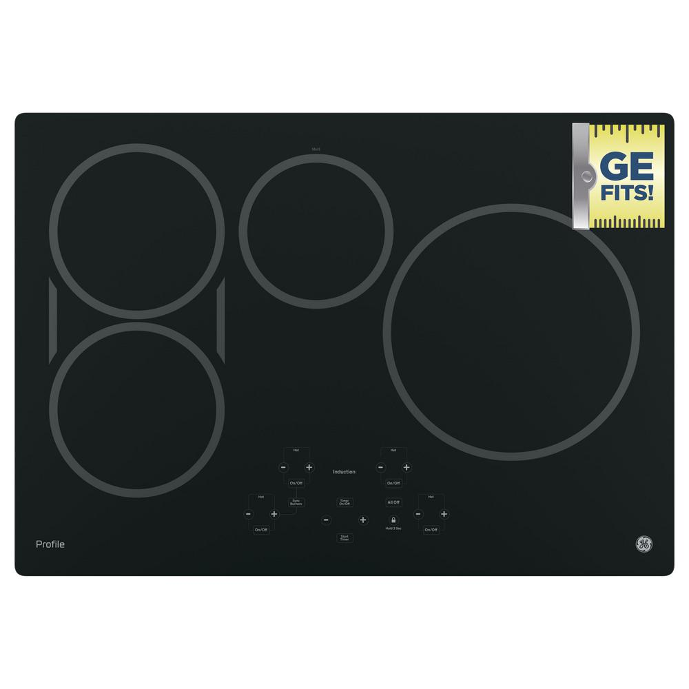 ge profile 30 in electric induction cooktop in black with 4 elements php9030djbb the home depot. Black Bedroom Furniture Sets. Home Design Ideas