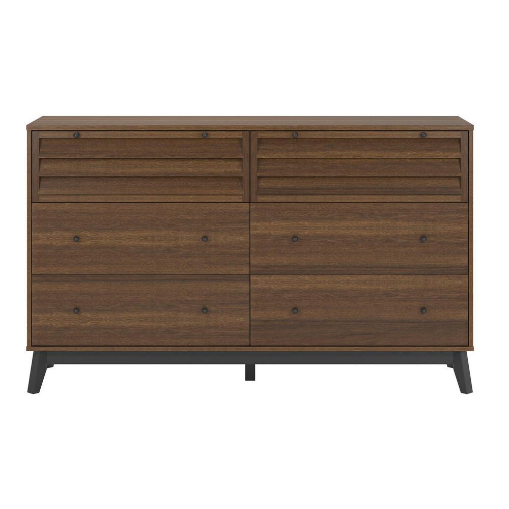 Details about 6-Drawer Walnut Dresser Clothes Storage Bedroom Furniture  Home Wood Wooden Chest
