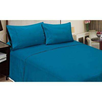 Jill Morgan Fashion Solid Blue Microfiber 4-Piece Queen Sheet Set