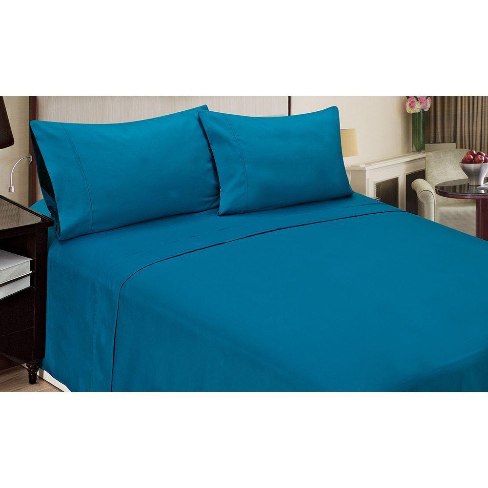 Jill Morgan Fashion Solid Blue Microfiber 4-Piece King Sheet Set