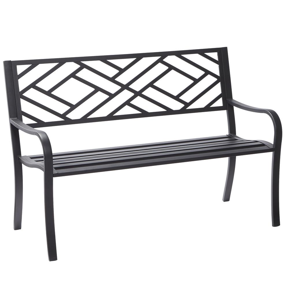 Hampton bay easterly steel black outdoor bench hd17590 for Metal benches for outdoors