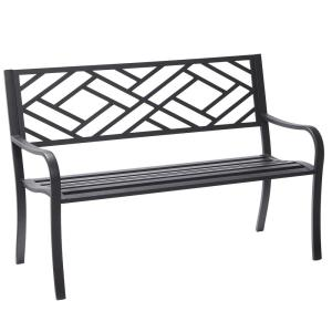 Hampton Bay Easterly Steel Black Outdoor Bench Hd17590