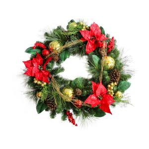 30 inch Unlit Artificial Mixed Pine Christmas Wreath with Red Poinsettias by