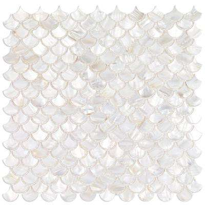 Pacif White Shells Pearl Shell Mosaic Tile - 3 in. x 6 in. Tile Sample