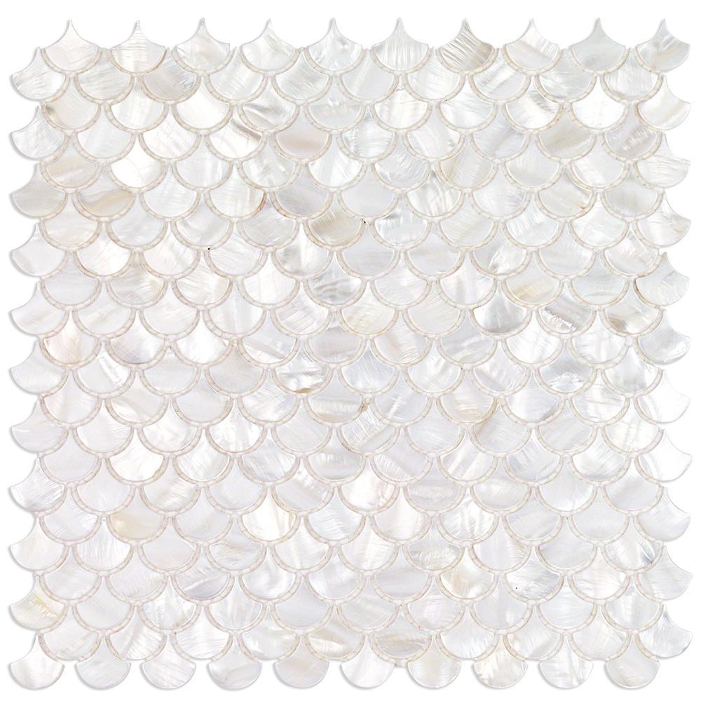 Splashback Tile Pacif White Shells Pearl Shell Mosaic Tile