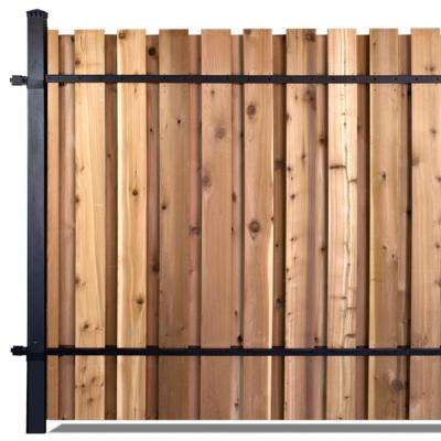 6 ft. x 8 ft. Black Aluminum Middle Post Fence Panel Kit with 8 ft. Post