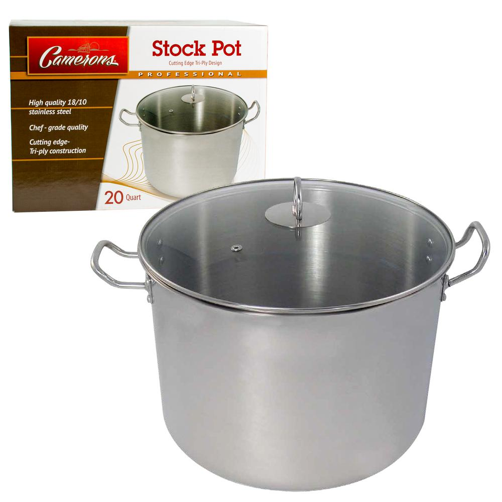 20 Qt. Single-Ply Body Tri-Ply Base Professional Grade Stainless Steel Stock
