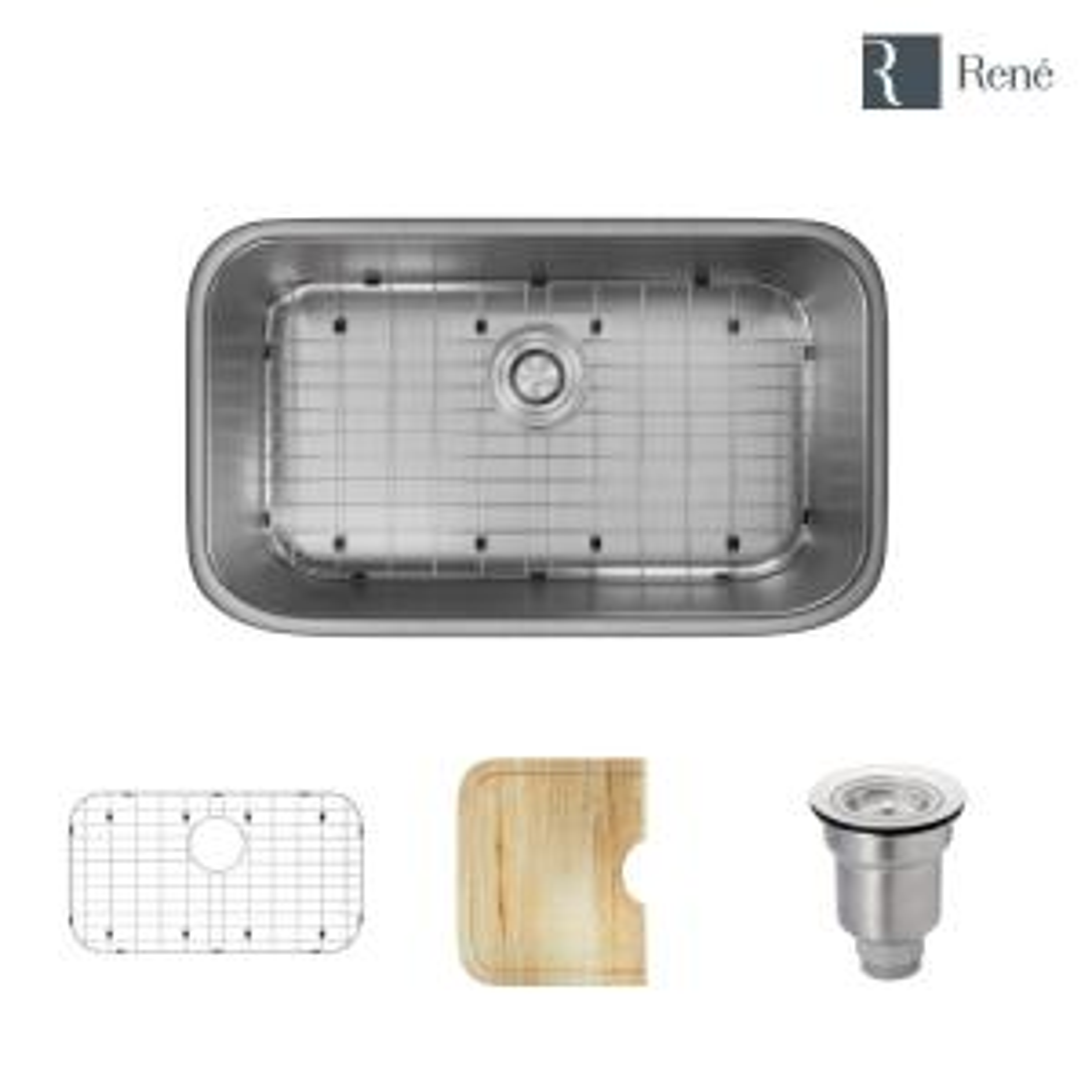 Undermount Stainless Steel 30 in. Single Bowl Kitchen Sink Kit