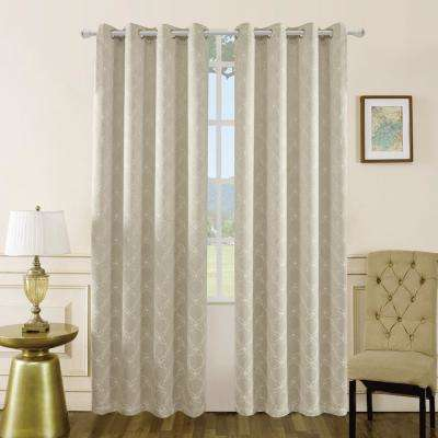 Amelia 126 in. L x 50 in. W Blackout Polyester Curtain in Sand