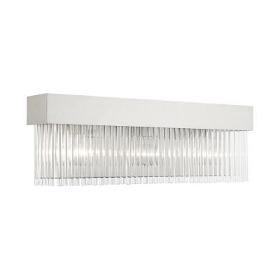 Norwich 6.25 in. Brushed Nickel Sconce with Crystal Rods