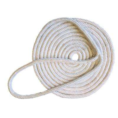 15 ft. Long 3/8 in. Thick Double Braided Nylon Dock Line with 12 in. Eye Splice White