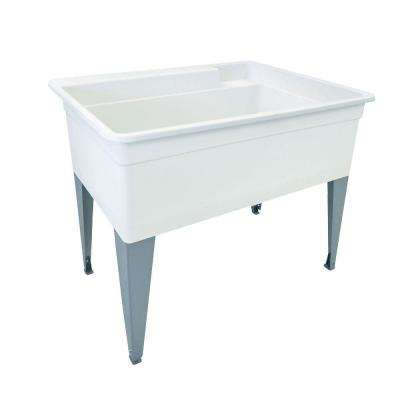 Utilatub 40 in. x 24 in. Polypropylene Utility Tub in White with Legs