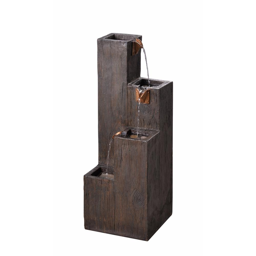 Kenroy Home Lincoln Resin Wood Grain Indoor/Outdoor Floor Fountain ...